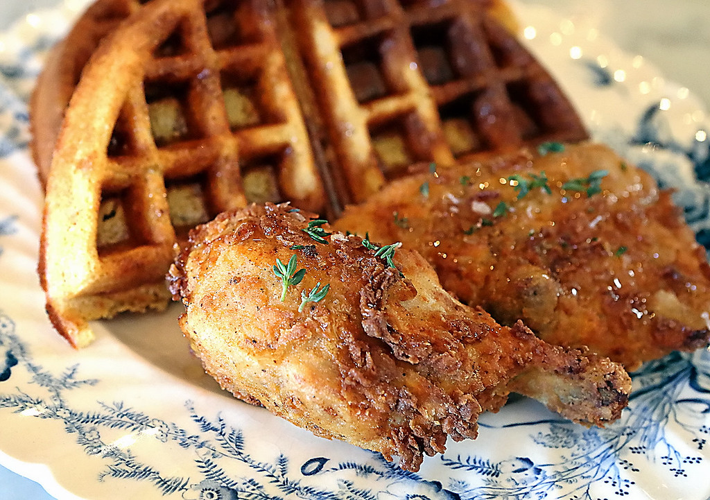 . Classic chicken and waffles from the guys at Kickin Chicken. (Shmuel Thaler � Santa Cruz Sentinel)