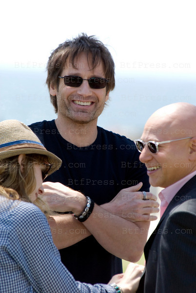 EXCLUSIVE-- David Duchovny and Evan Handler playing like kid on the set of Californication in Venice California on May 7,2010.