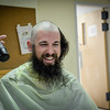 Mark Moakley of Billerica keeps his beard but shaves his head for The Kid's Community Buzz-Off at the Community Congregational Church in Billerica. All the money and donated hair will be given to One Mission in support of the fight against cancer. SUN/Caley McGuane
