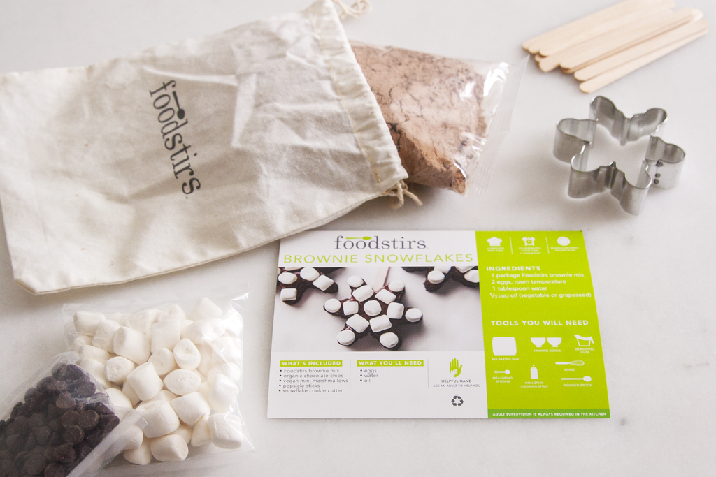 Ingredients in the Foodstirs' Brownie Snowflakes Kit