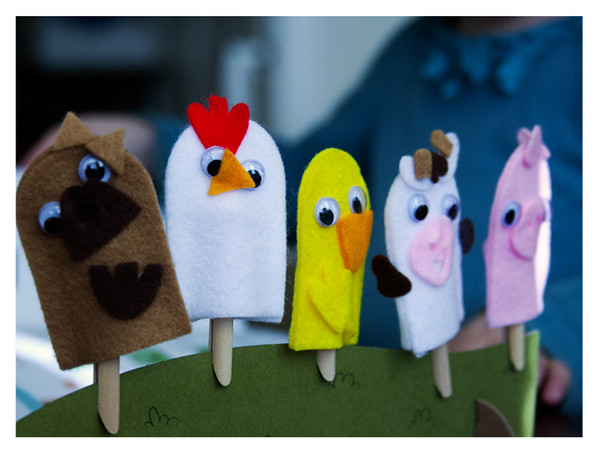 August 2014 Kiwi Crate: My Barnyard Friends, Finished Puppets