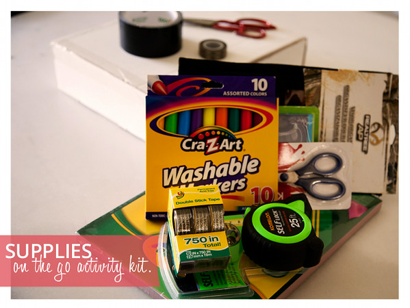 Supplies for An On the Go Activity Kit for Toddlers and Preschoolers