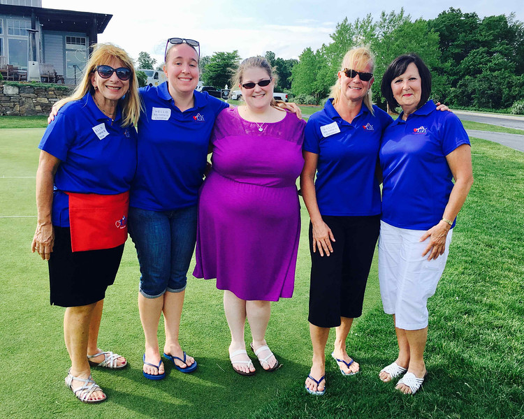 From left, Ann Corso of Vermont, and Christina Pare, Samantha Wojtowicz, Margaret Pare and Chairwoman Denise Mercier, all of Dracut