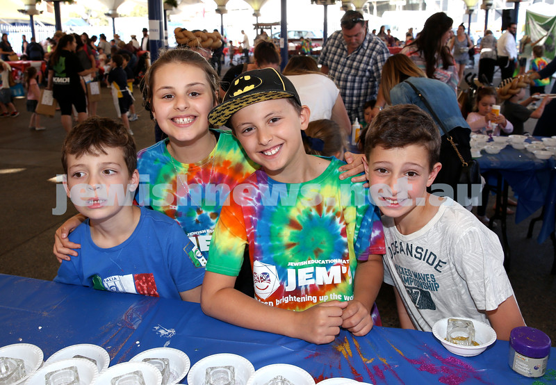 Combined OBK, JEMS, PJ Library Shabbat Project challah bake and activities at EQ. From left; Toby Lenga, Lilah Hedges, Lior Hedges, Jared Lenga. Pic Noel Kessel