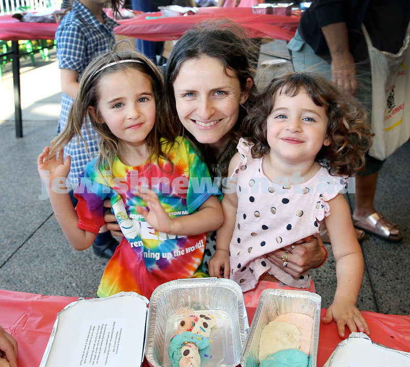 Combined OBK, JEMS, PJ Library Shabbat Project challah bake and activities at EQ. From left; Coco, Giselle, Elke Haber. Pic Noel Kessel