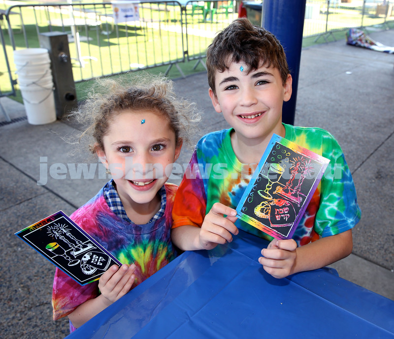 Combined OBK, JEMS, PJ Library Shabbat Project challah bake and activities at EQ. Michelle Fajwul (left), Josh Lore. Pic Noel Kessel