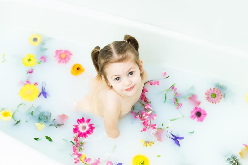 Grand Rapids, MI two year old milk bath photography
