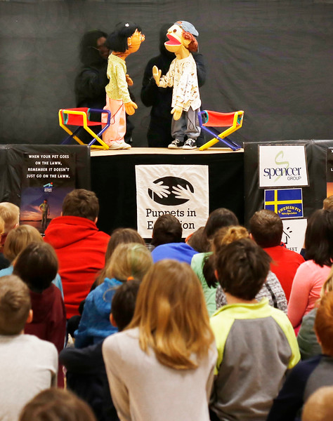 HOLLY PELCZYNSKI - BENNINGTON BANNER Puppets in Education from Burlington teach students how to put a stop to bullying and understand learning differences and how to accept others on Monday at Fisher elementary School.