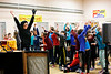 HOLLY PELCZYNSKI - BENNINGTON BANNER puppeteer Karen Sharpwolf leads Fisher Elementary School students in some stretching and dancing on Monday morning during a production of the Kids on the Block - Vermont (KOBVT) where puppets talk to students about the acceptance of learning differences and how to put a stop to bullying.