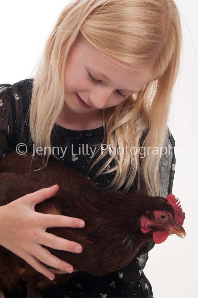 pretty blonde girl holding a chicken, isolated on white background