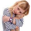 pretty blonde girl with her teddy bear, looking sad, isolated on white background