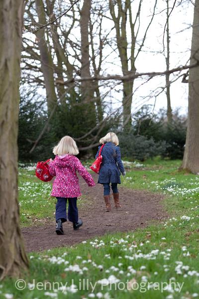pretty children walking in woods of snowdrops
