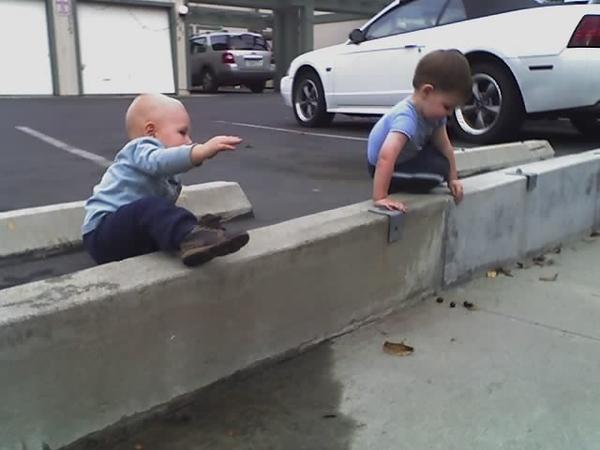 Sam and Ian playing outside - Oct 2008