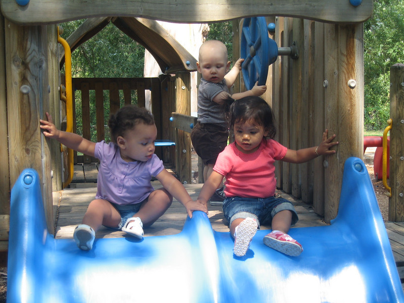 Watching Kannyn and Amara going down the slide!