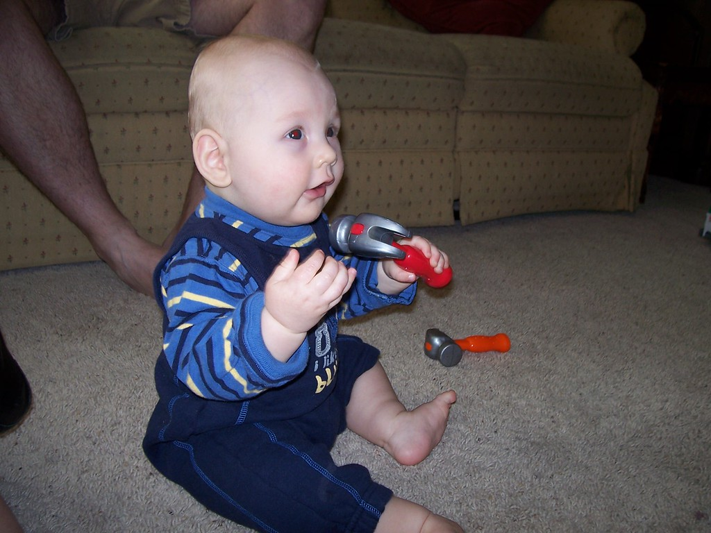 Look Grandpa - I got to play with hammers!!!