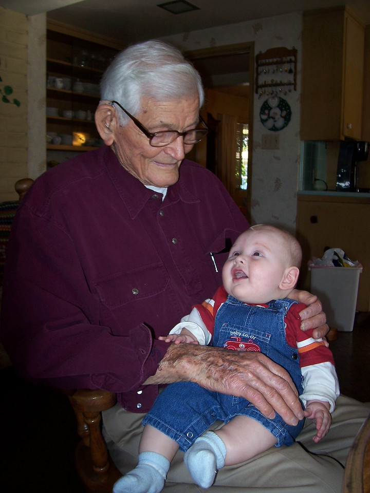 Sammy loves Great Grandpa Fuess