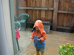 Testing out the raincoat