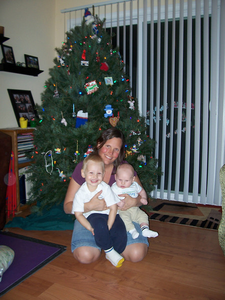 Judy and her boys, and the tree.