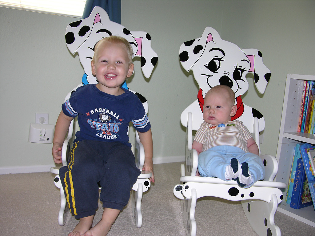 Sam and Cameron in their new puppy chairs! Thank you Aunt Loretta!