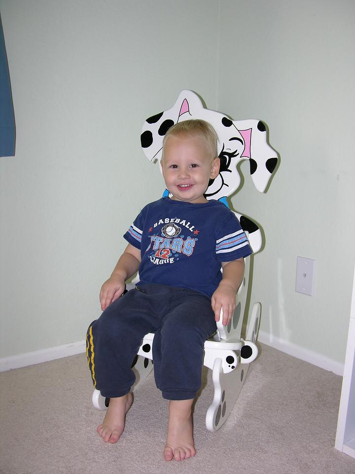 Sam loves his new puppy chair - thank you Aunt Loretta!!