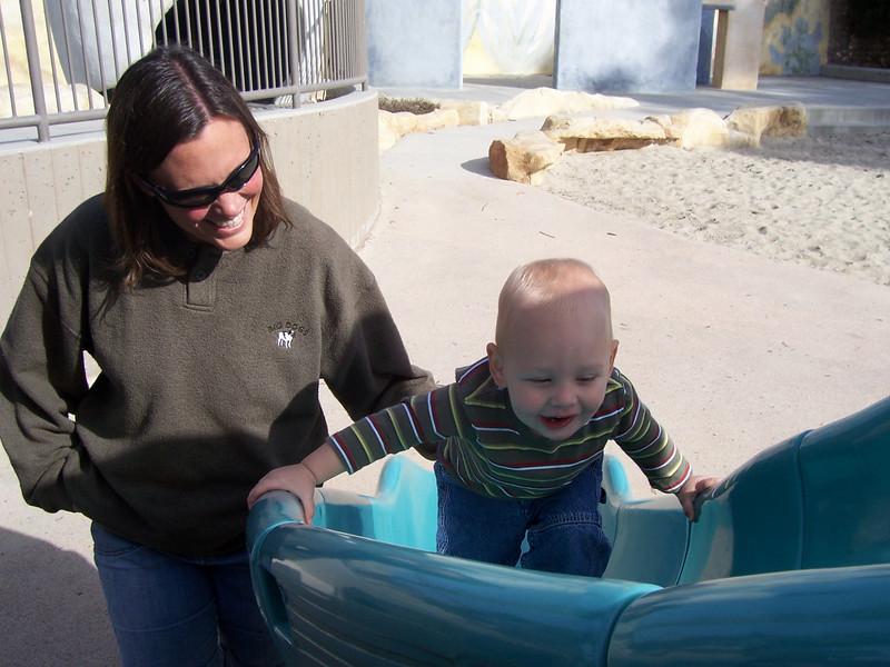 climbing up the slide