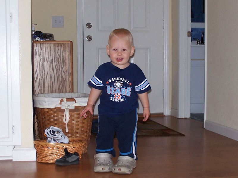 Sam thinks his feet are bigger than they are (wearing Judy's Crocs).