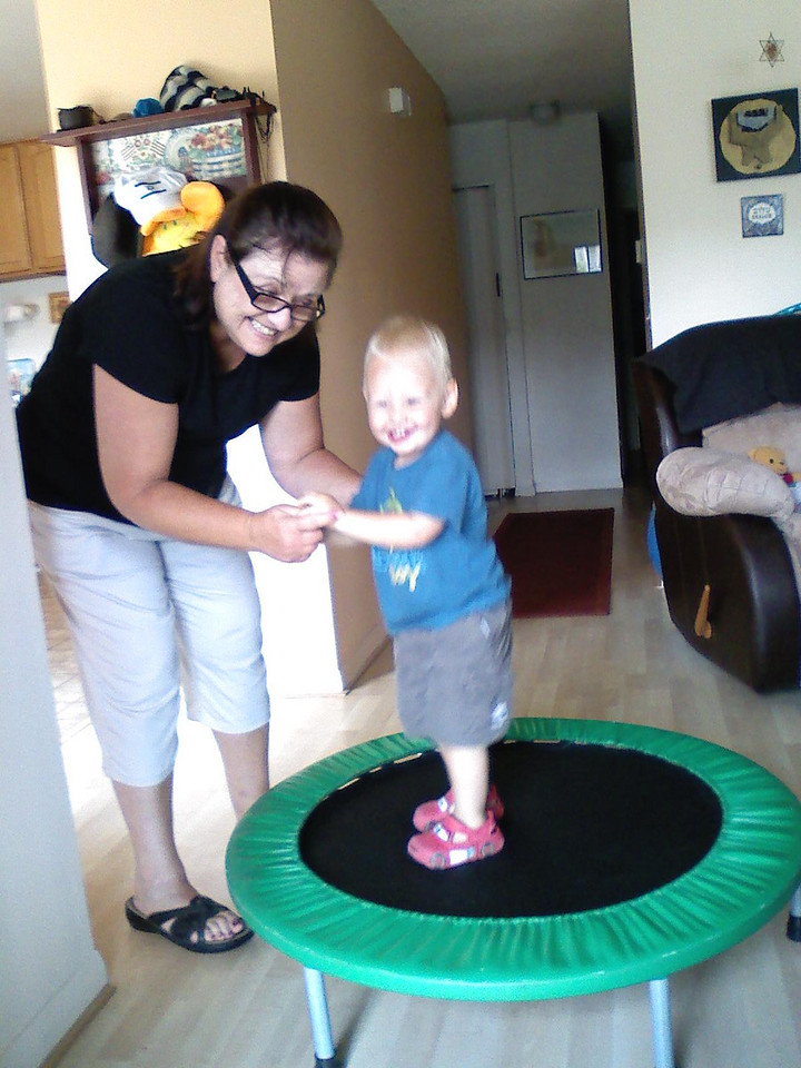 Playing with Auntie Maureen's trampoline