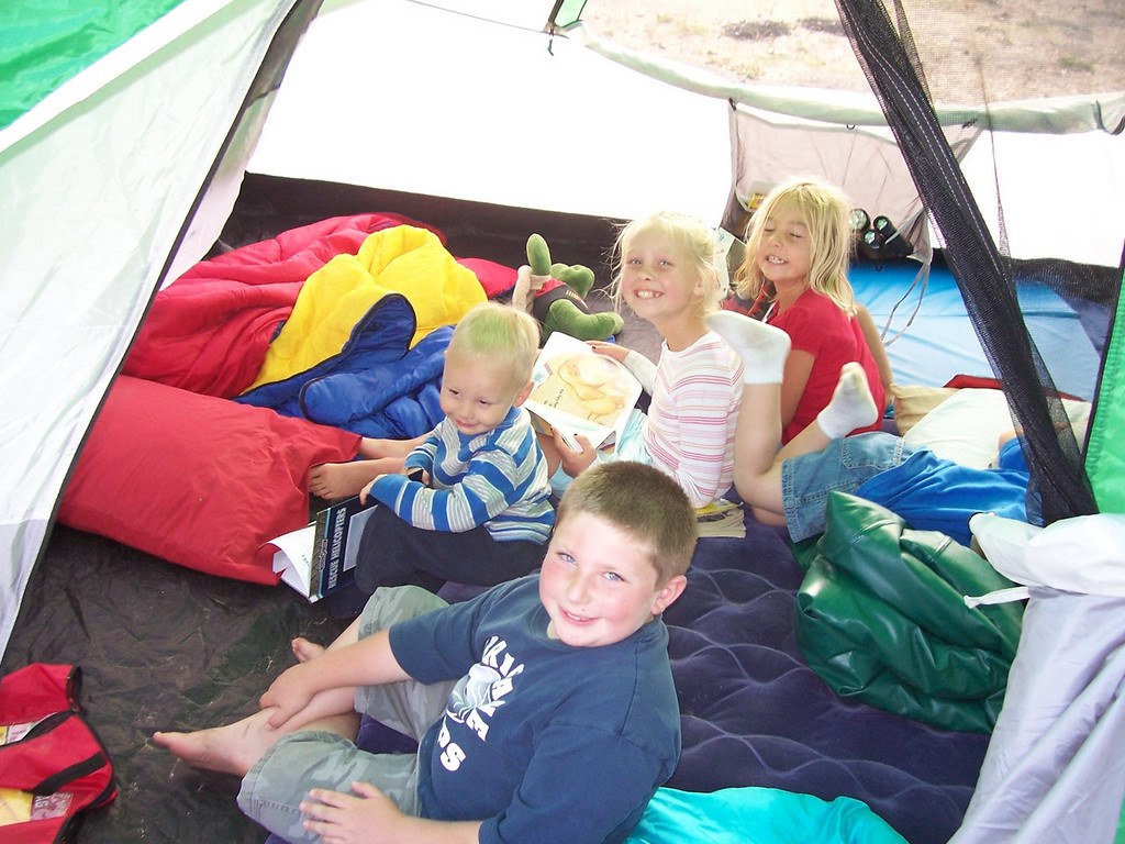 Kids in the tent