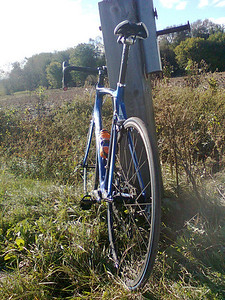 First flat tire of the 2010 season and it's October. Been lucky! (cell phone picture)