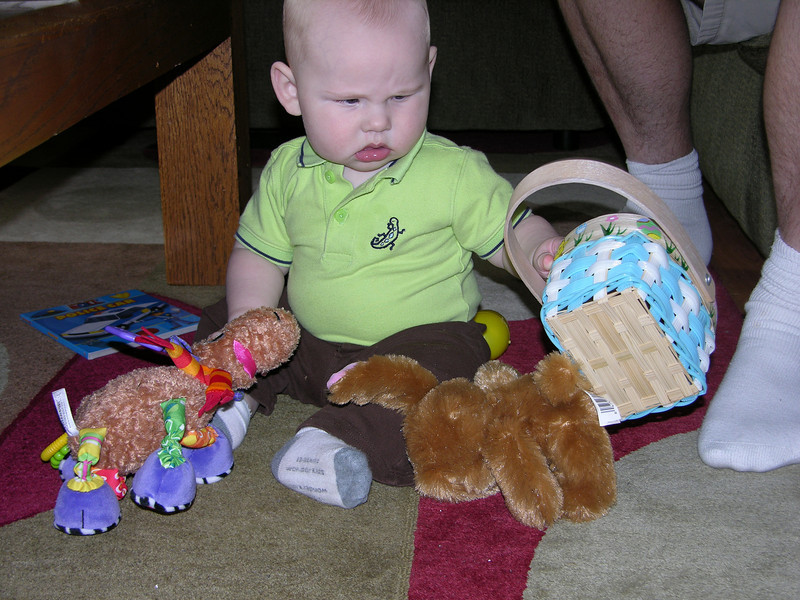 checking out the loot from the Easter bunny.