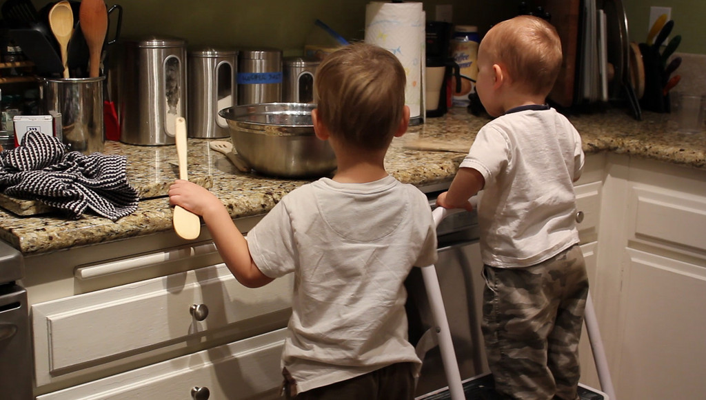 Sam and Cam - helping to cook