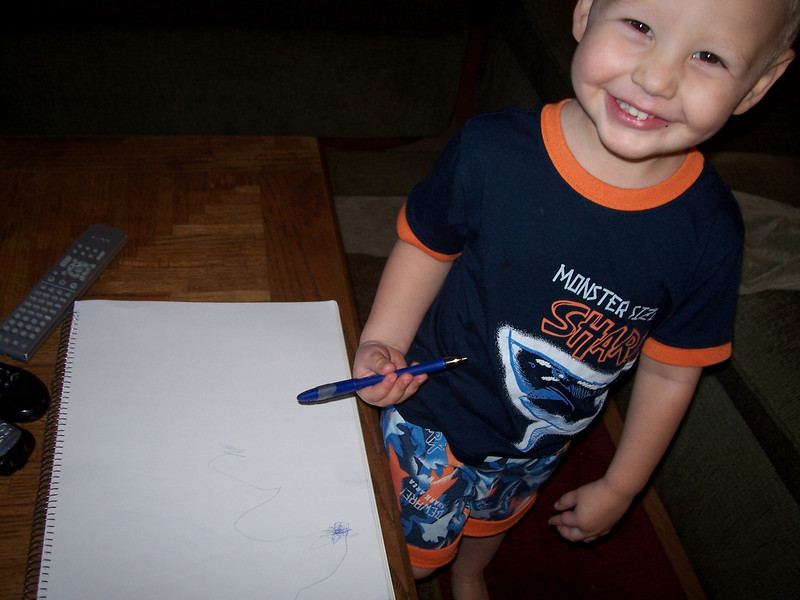"Sam drew an ""M"" on the paper, then started saying ""M"", ""S"" ""A"" ""M"" - ""sammy"""