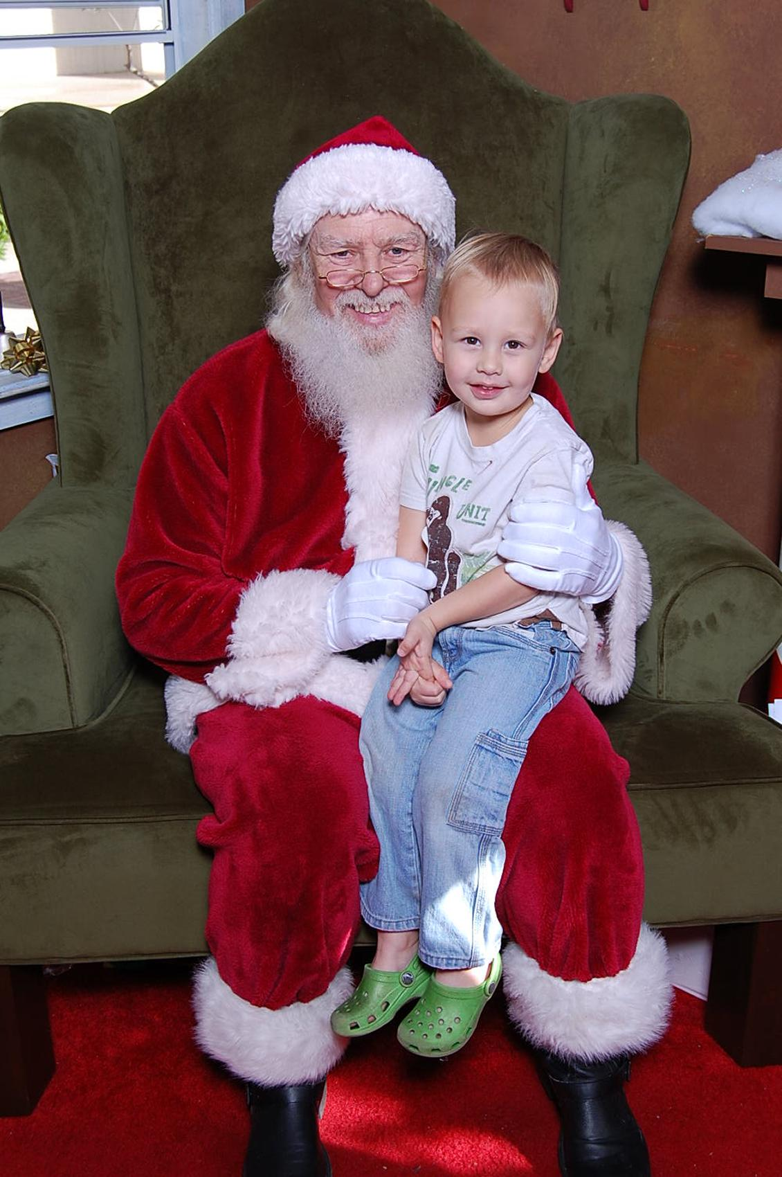 Sam hanging out with Santa
