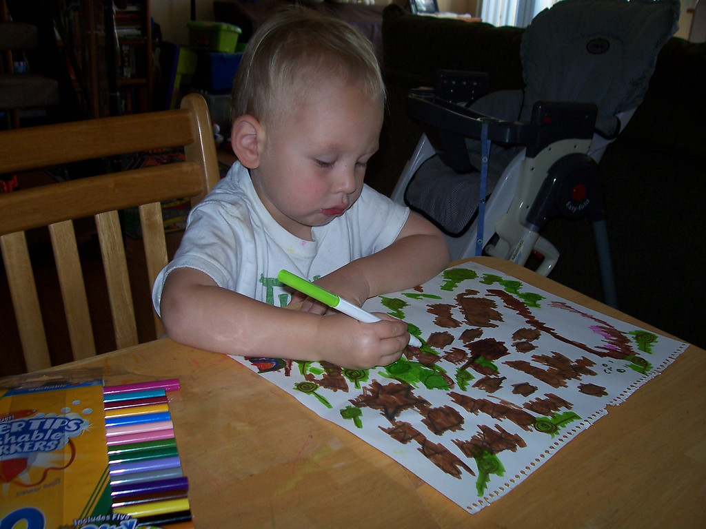 Sam loves coloring