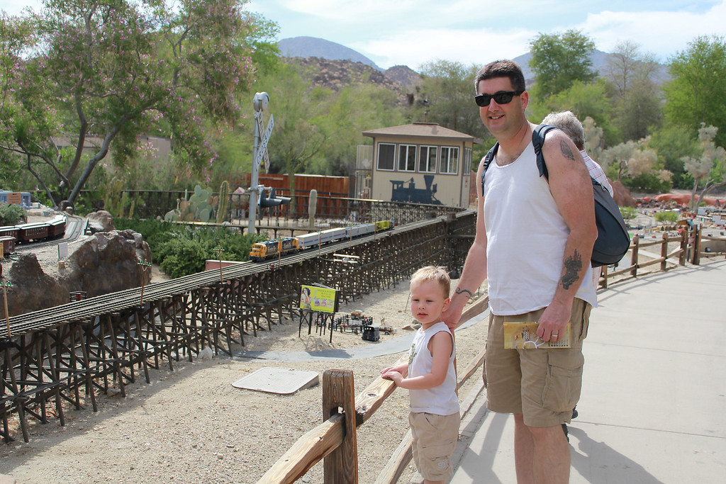 """On Saturday morning we went to the """"Living Desert"""" - besides lots of animals and other exhibits, they had an amazing model train exhibit - Sam still asks to go back and see it!"""