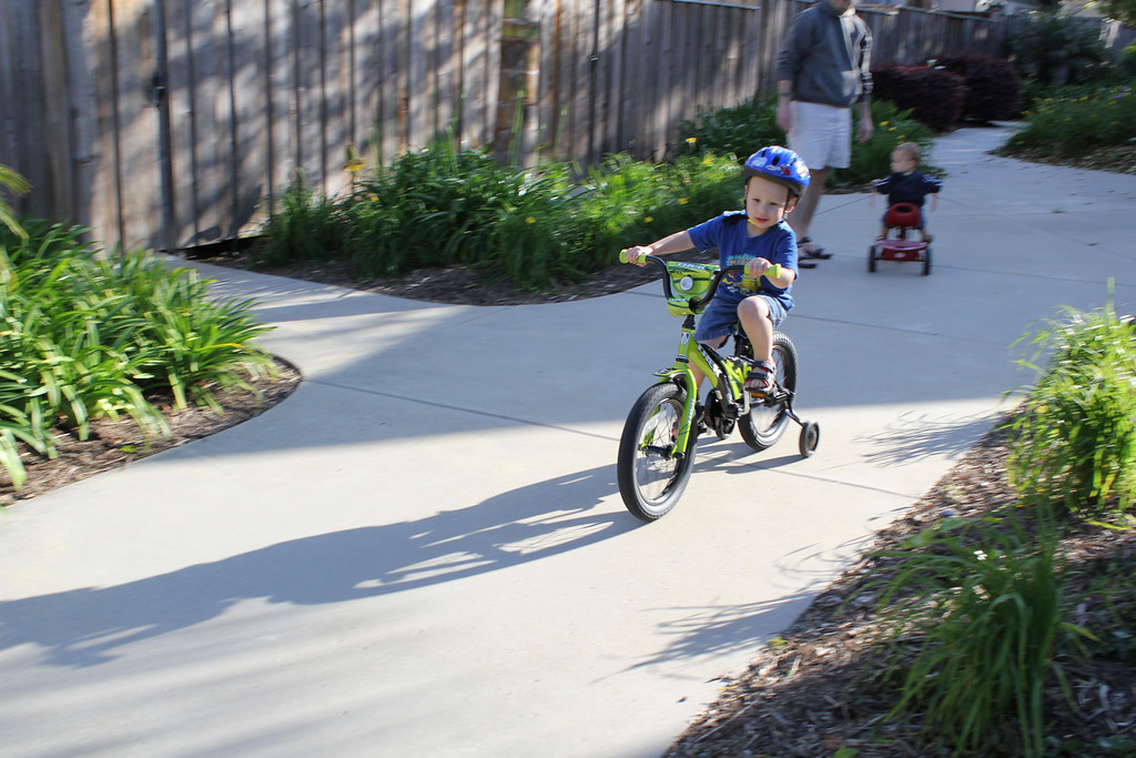 Sam riding his new bike!