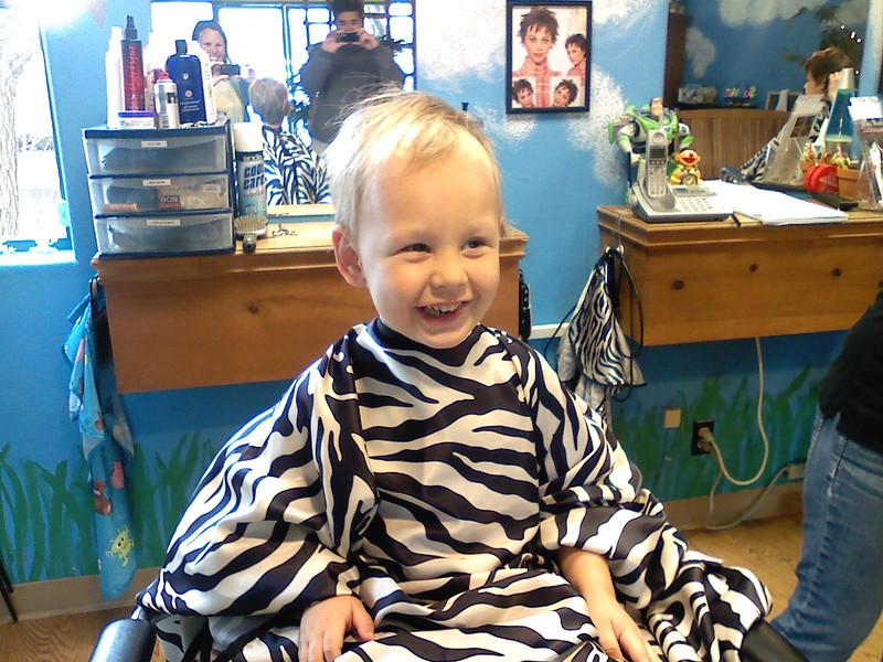 Sam's first Salon Haircut