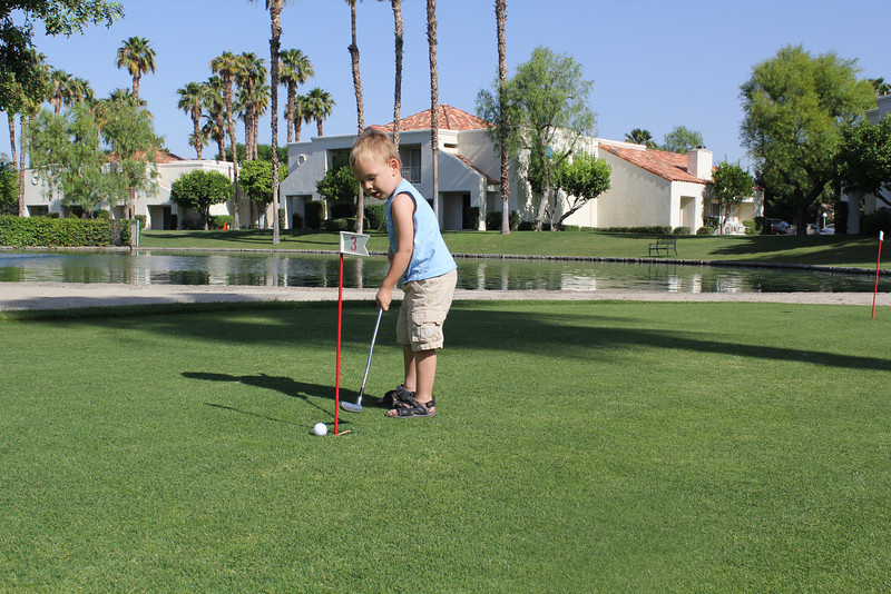 Check out the golf stance!