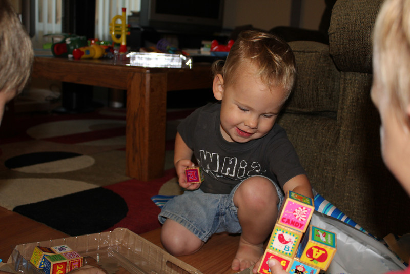 Playing with blocks from Grandma Linda and Grandpa Carl. Thank you grandma and grandpa!