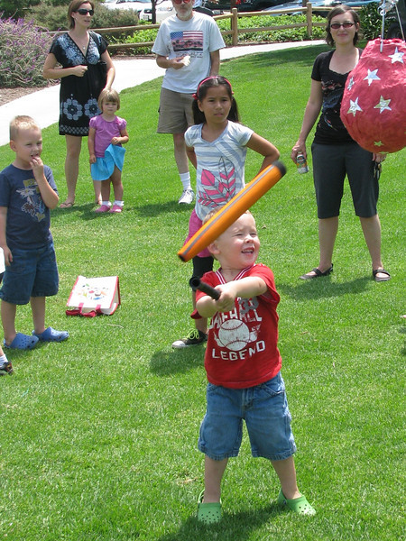Cameron's first time hitting a pinata - he is so strong he broke the bat!