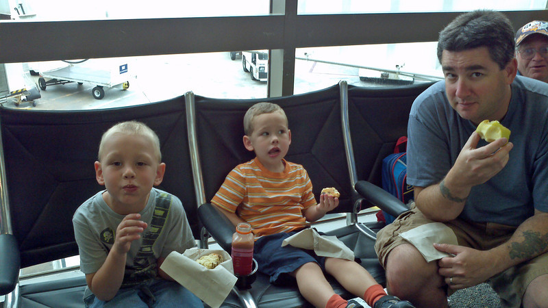 Getting ready to go on the plane