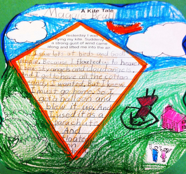 A Kite Tale by Maggie Brull<br /> <br /> Yesterday I was<br /> flying my kite.  Suddenly<br /> a strong gust of wind came along and lifted me into the air<br /> I saw lots of birds and God's<br /> people.  Because I floated up to heaven<br /> I saw sky angels and cloud angels.<br /> And I got to have all the cotton<br /> candy I wanted.  But I knew<br /> I must go home.  So I<br /> got a balloon and<br /> blew it up.  And<br /> I used it as a <br /> parachute.<br /> And<br /> floated<br /> on<br /> down.