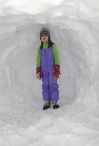 Anna inside her igloo.