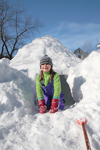 Anna with her igloo.