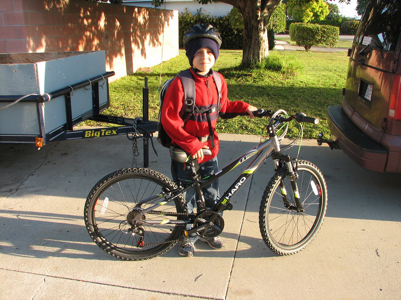 Owen with his new bike, which he got for his 11th birthday.