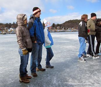 Pond hockey tournament on Lake Champlain in Colchester, Vermont. Feb 19, 2012.