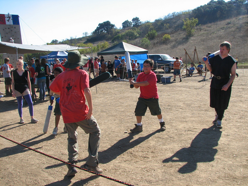 "Robert gets into the ""sword fighting"" contest."
