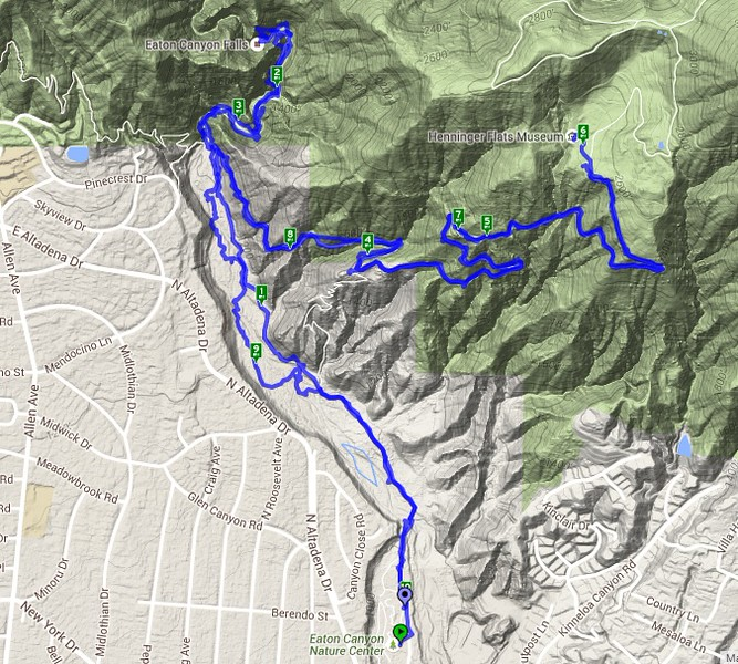GPS track for our hike