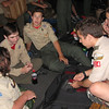 Some of the scouts passed the time with a game of cards.