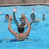 The water polo guys practice their eggbeater kick.